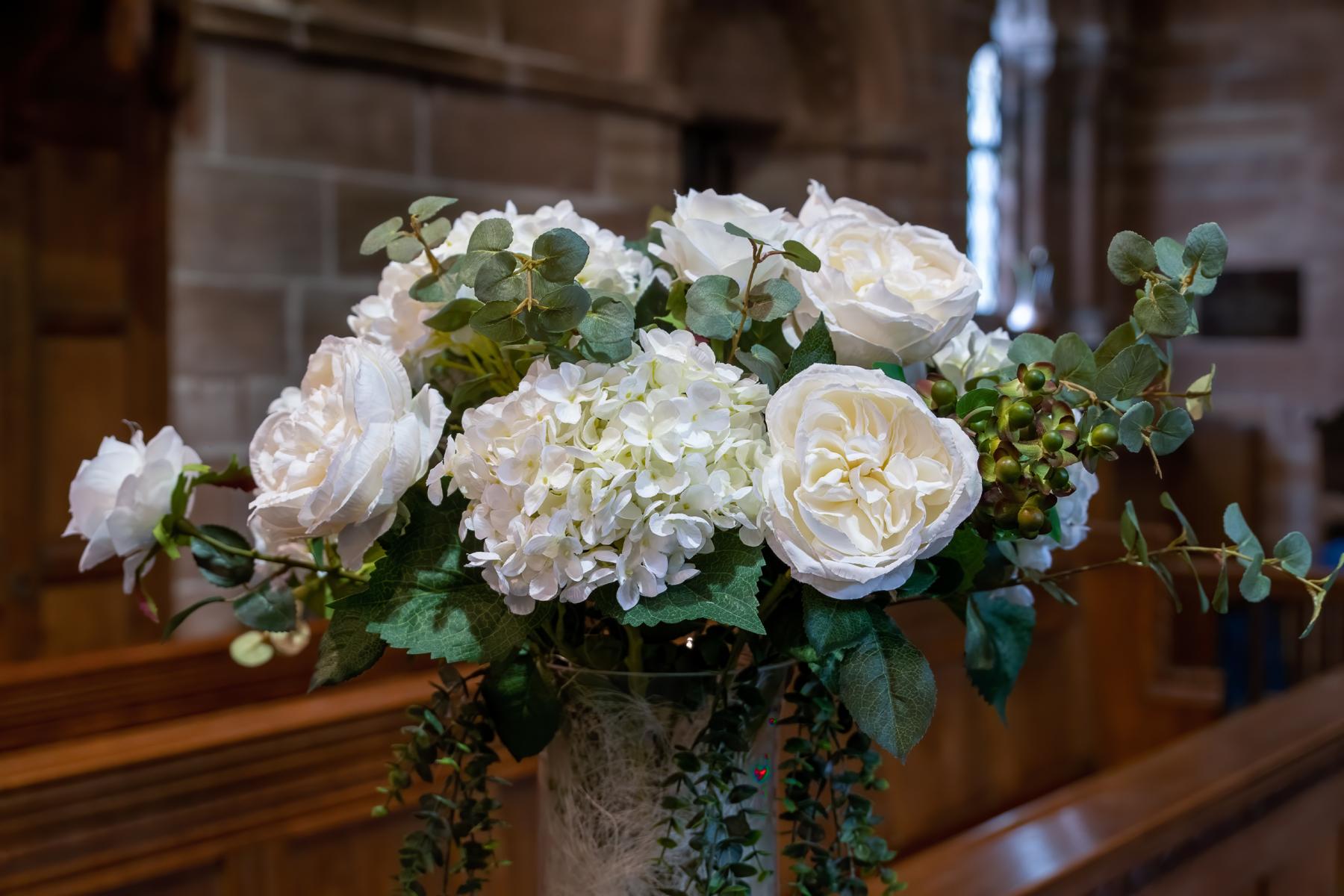 flower bouquet at church